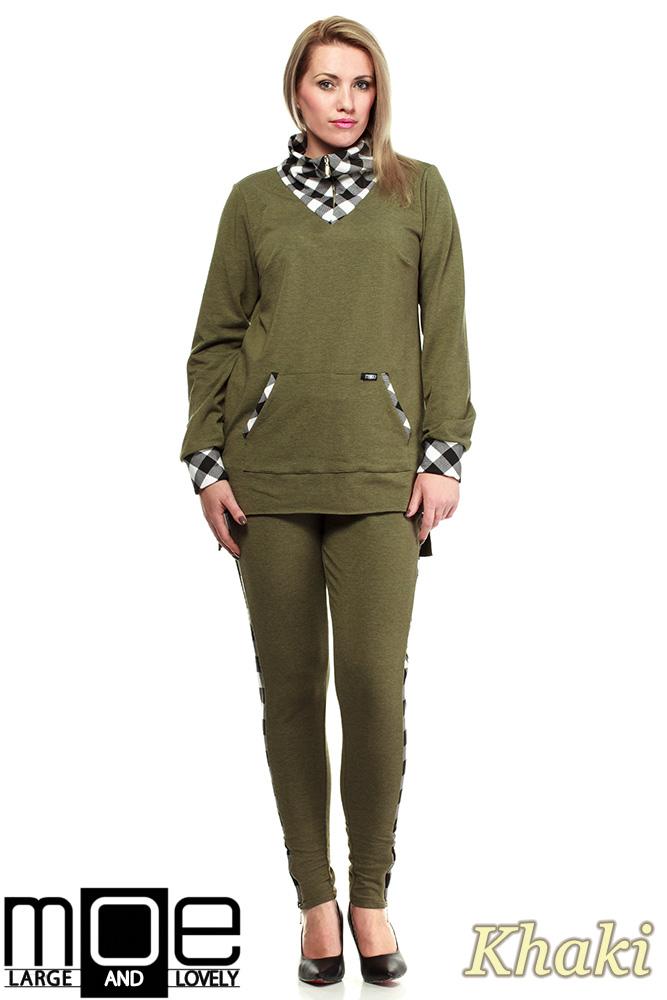 CM1324 Asymetryczna damska bluza dresowa 44-52 - khaki