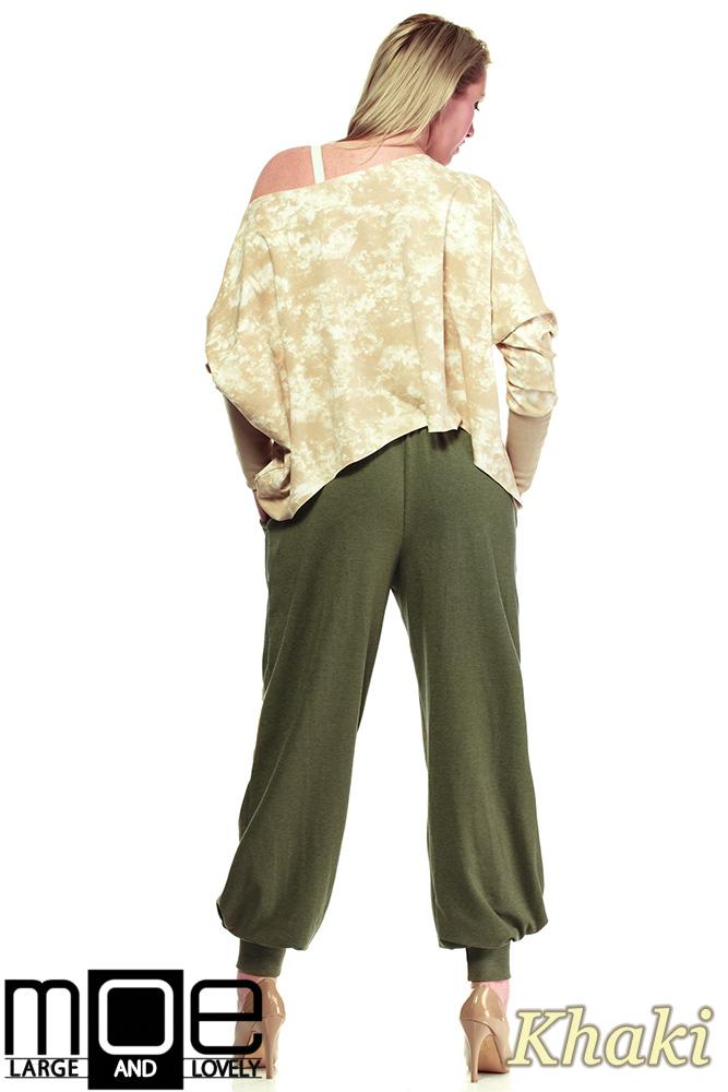 CM1323 Dresowe spodnie damskie alladyny 44-52 - khaki