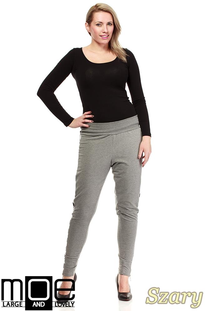 CM1325 Dresowe spodnie damskie z lampasami w kratę - szare