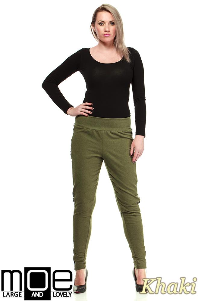 CM1325 Dresowe spodnie damskie z lampasami w kratę - khaki
