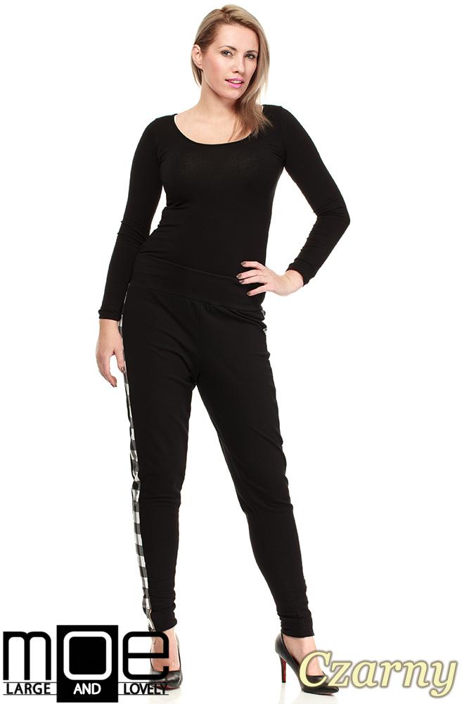CM1325 Dresowe spodnie damskie z lampasami w kratę - czarne
