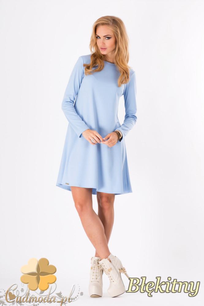 CM1292 Rozkloszowana trapezowa sukienka midi - błękitna