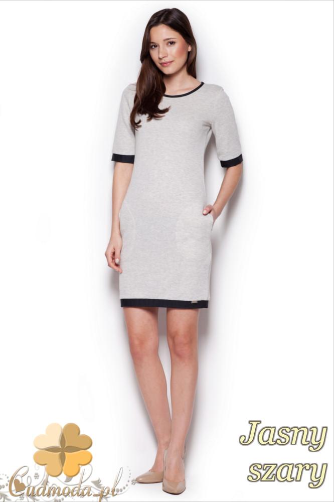 CM1295 Elegancka taliowana sukienka przed kolano - jasna szara