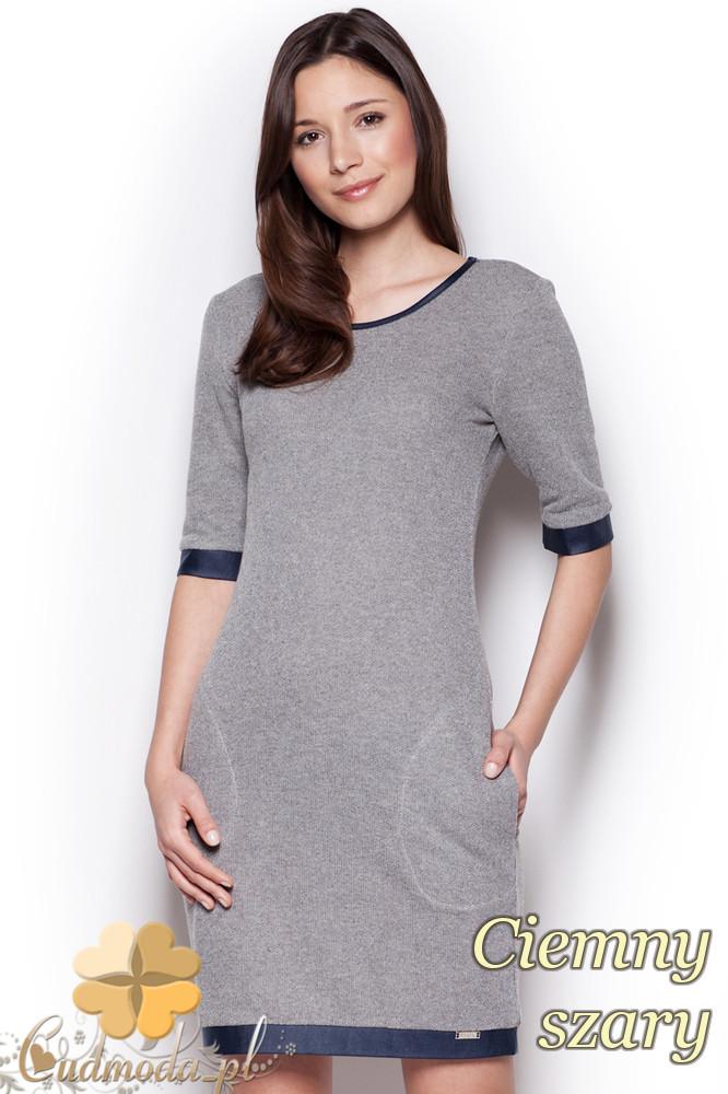 CM1295 Elegancka taliowana sukienka przed kolano - ciemna szara