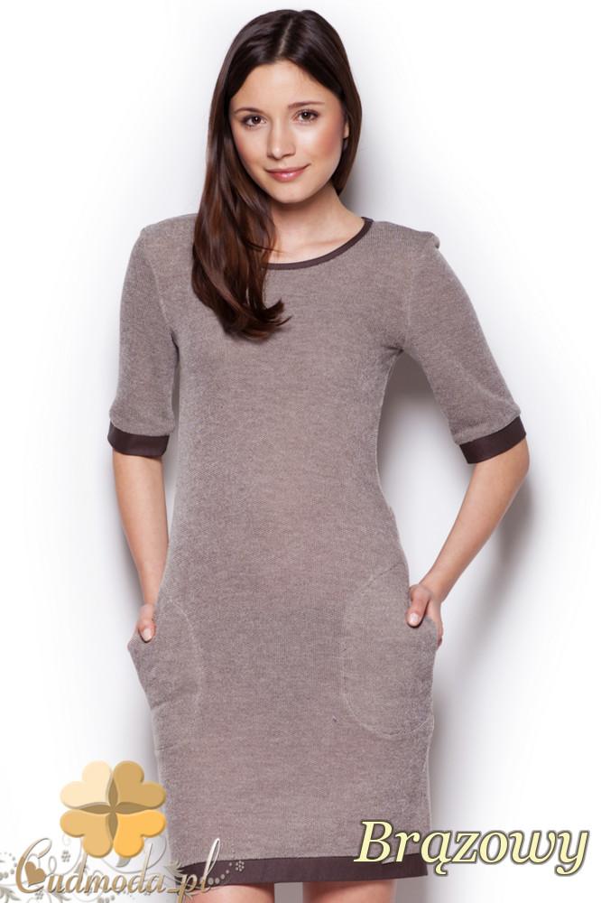 CM1295 Elegancka taliowana sukienka przed kolano - brązowa