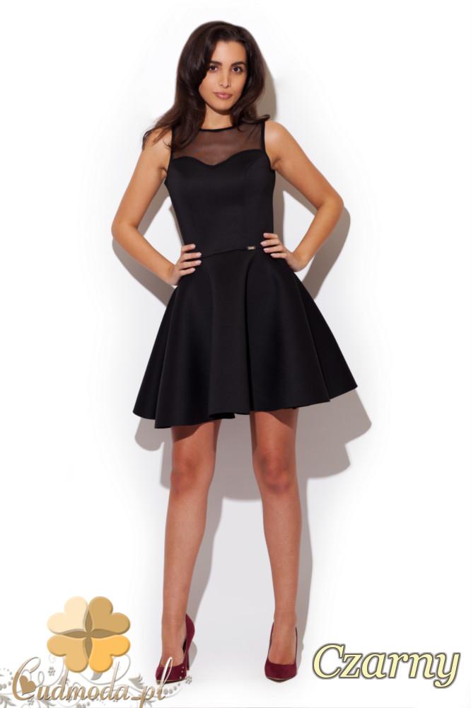 CM1296 Rozkloszowana sukienka z gorsetowym dekoltem - czarna