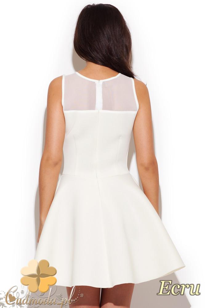 CM1296 Rozkloszowana sukienka z gorsetowym dekoltem - ecru