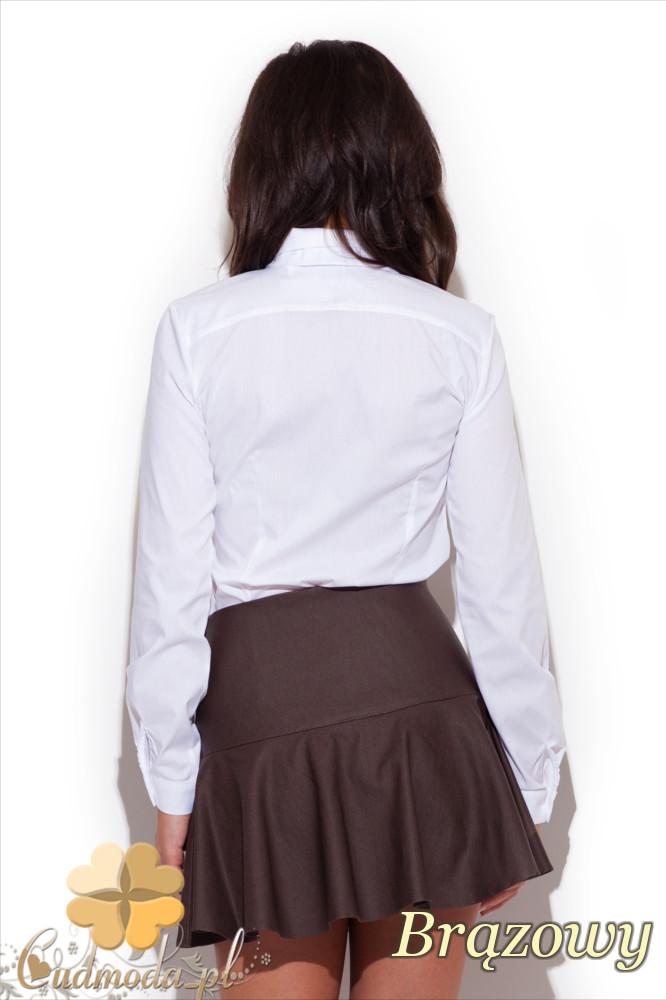 CM1297 Elegancka spódniczka kontrafałda - brązowa