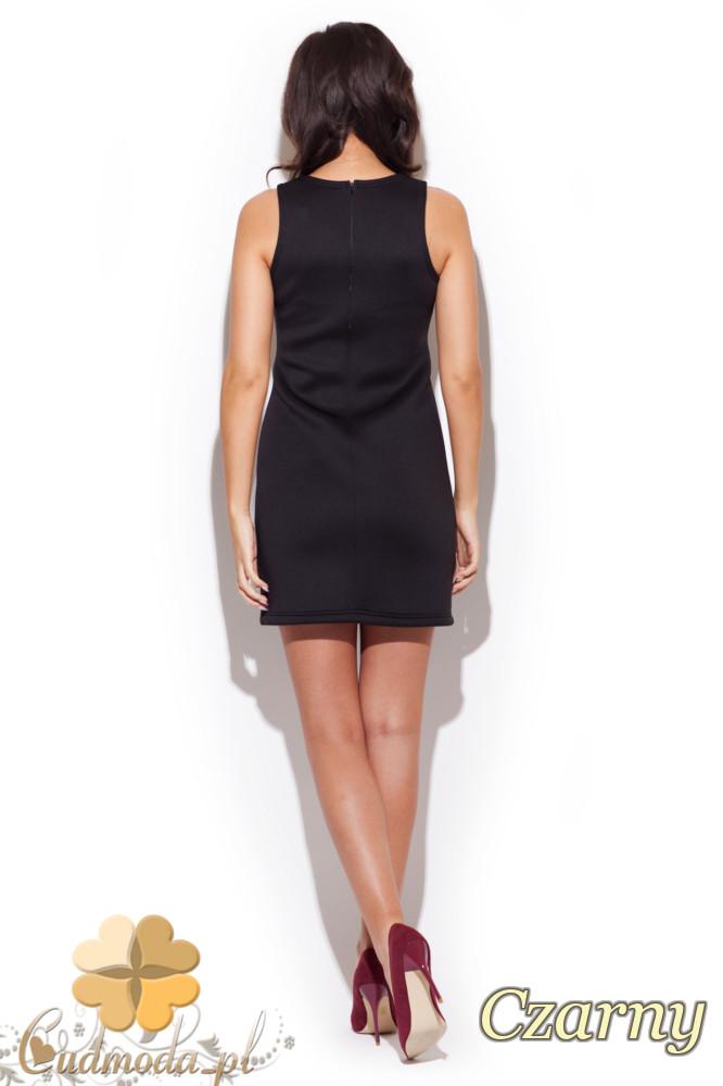 CM1298 Piankowa sukienka mini - czarna