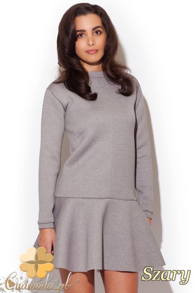 CM1299 Piankowa sukienka z długim rękawem - szara