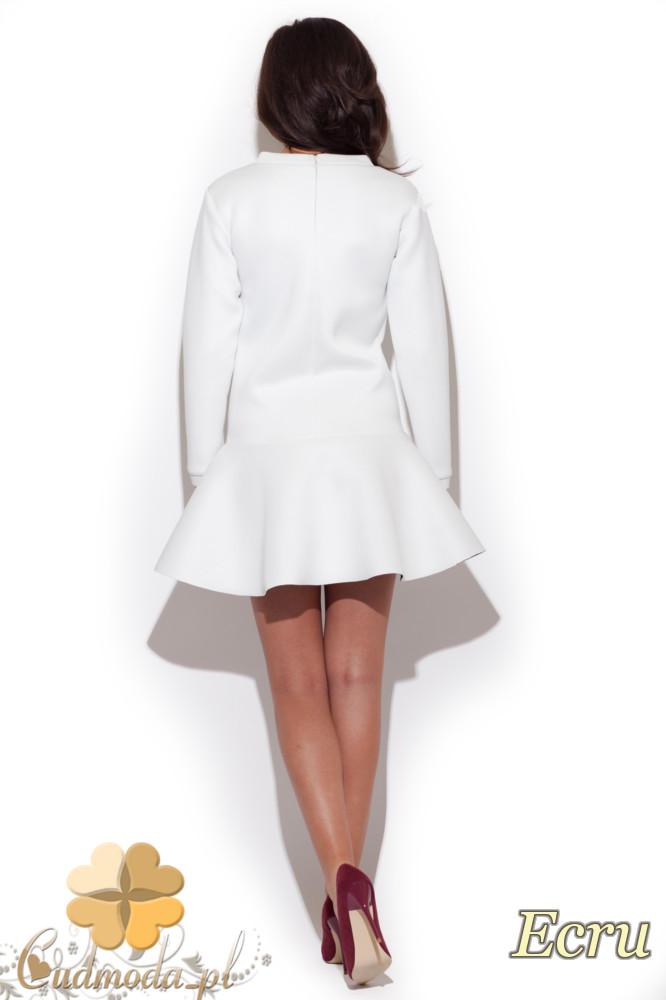 CM1299 Piankowa sukienka z długim rękawem - ecru