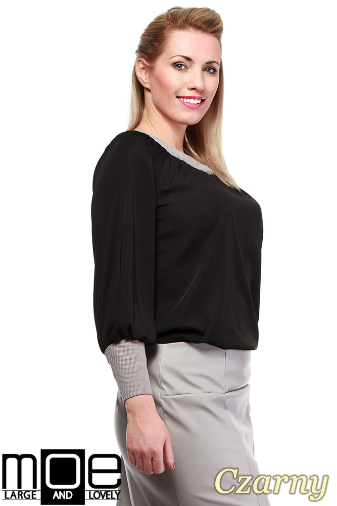 CM1326 Zwiewna kobieca bluzka z marszczeniami - czarna