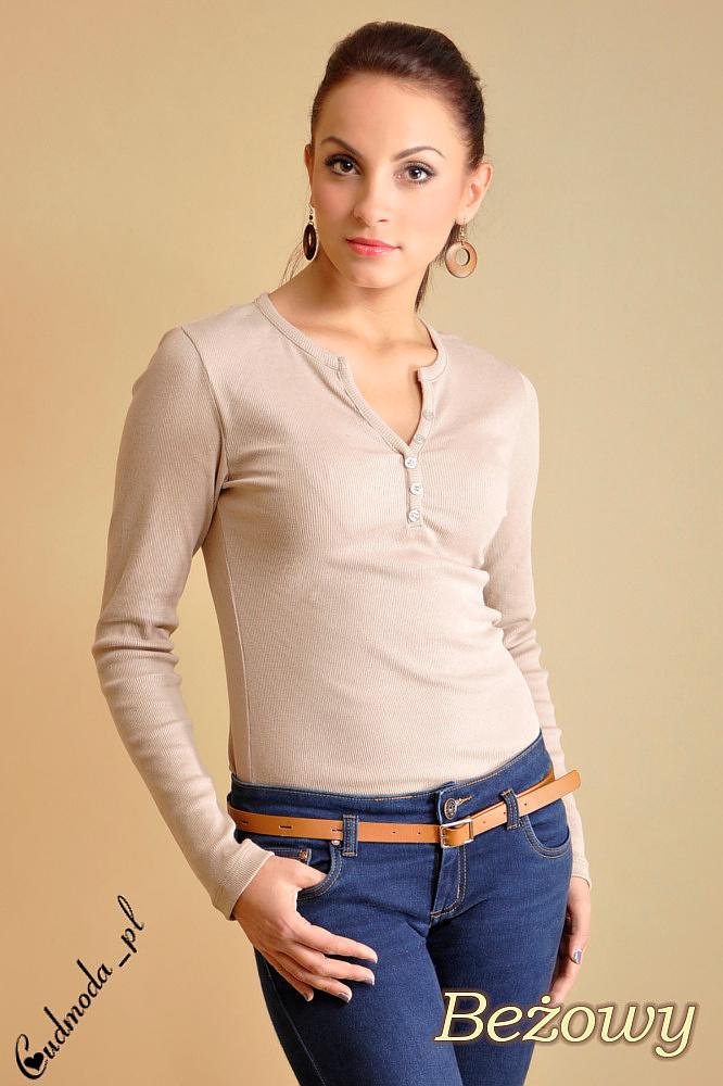 CM0013 Klasyczna bluzka z guziczkami - beżowa