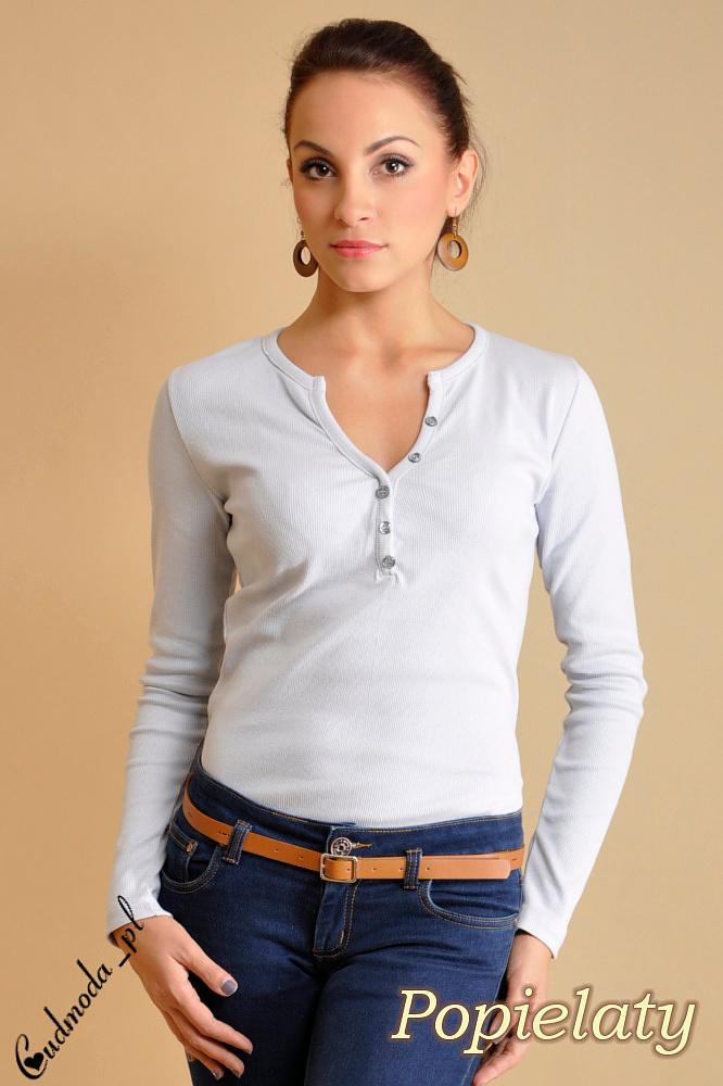 WYCOFANY Klasyczna bluzka z guziczkami - popielata