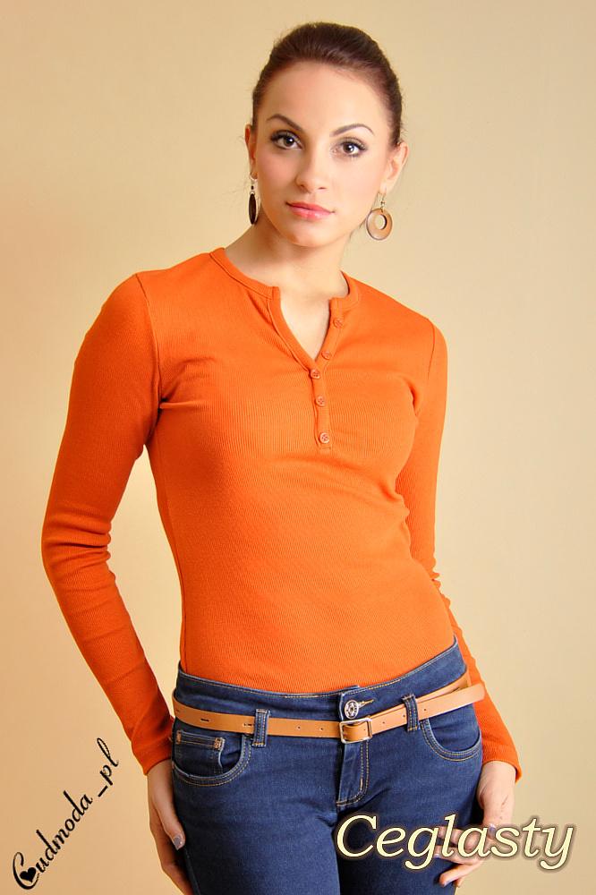 CM0013 Klasyczna bluzka z guziczkami - ceglasta