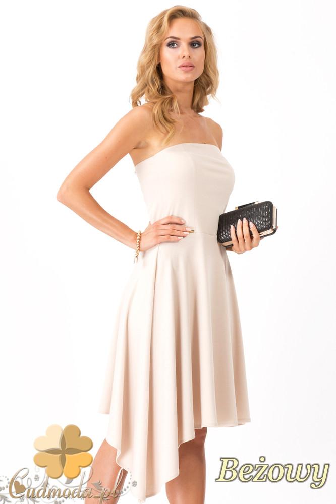 CM1345 Sukienka wieczorowa z dopasowaną górą - beżowa OUTLET