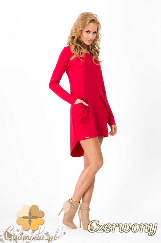 CM1352 Dresowa sukienka damska z kieszeniami - czerwona OUTLET