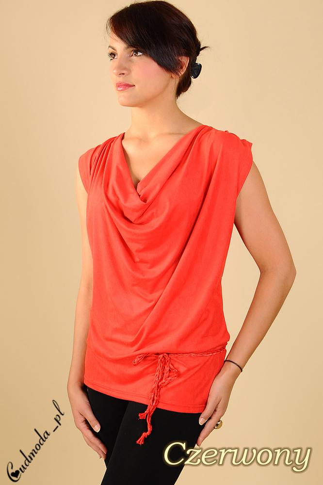 CM0114 Włoska zamszowa tunika bluzka - czerwona
