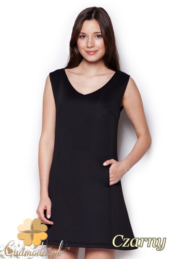 CM1404 Klasyczna sukienka przed kolano lekko rozkloszowana - czarna