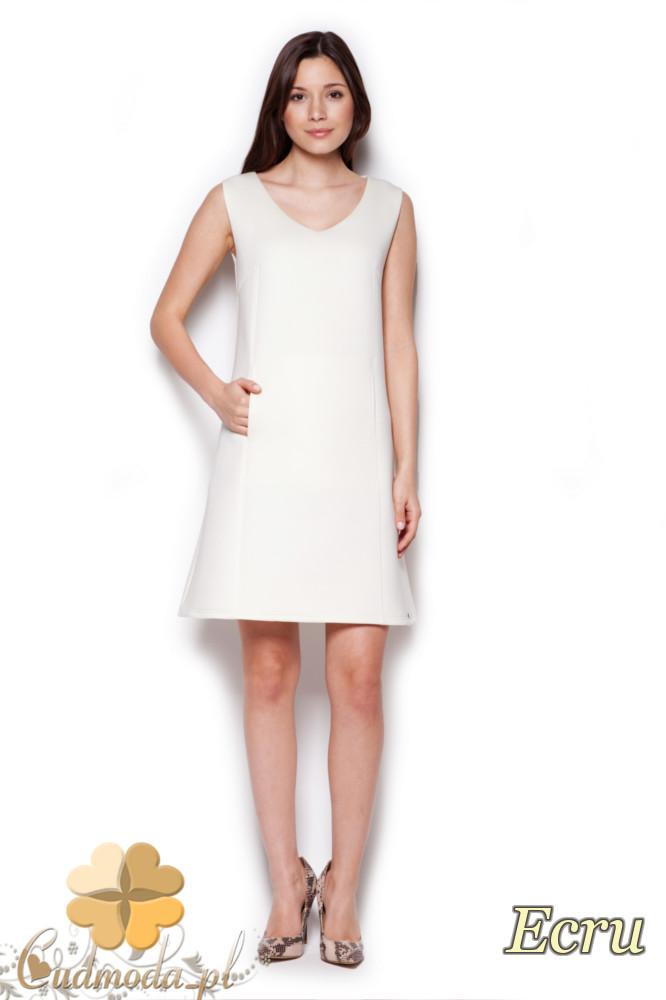 CM1404 Klasyczna sukienka przed kolano lekko rozkloszowana - ecru
