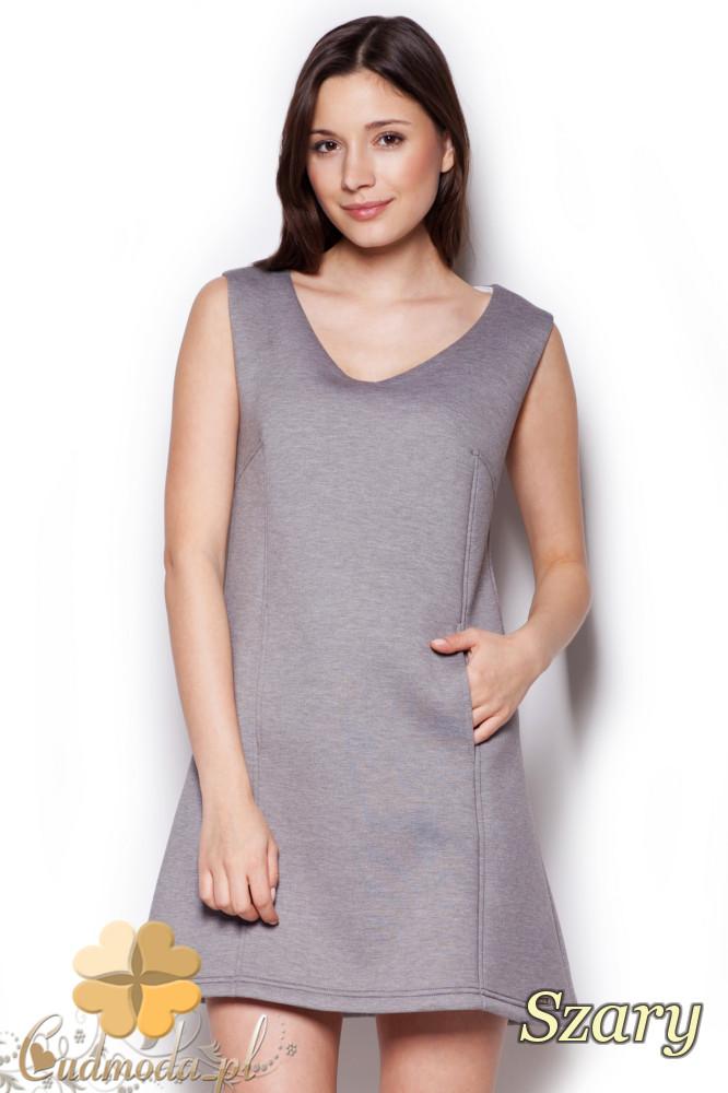 CM1404 Klasyczna sukienka przed kolano lekko rozkloszowana - szara
