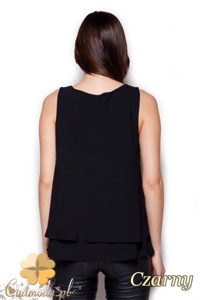 CM1405 Dwuwarstwowa bluzka damska - czarna