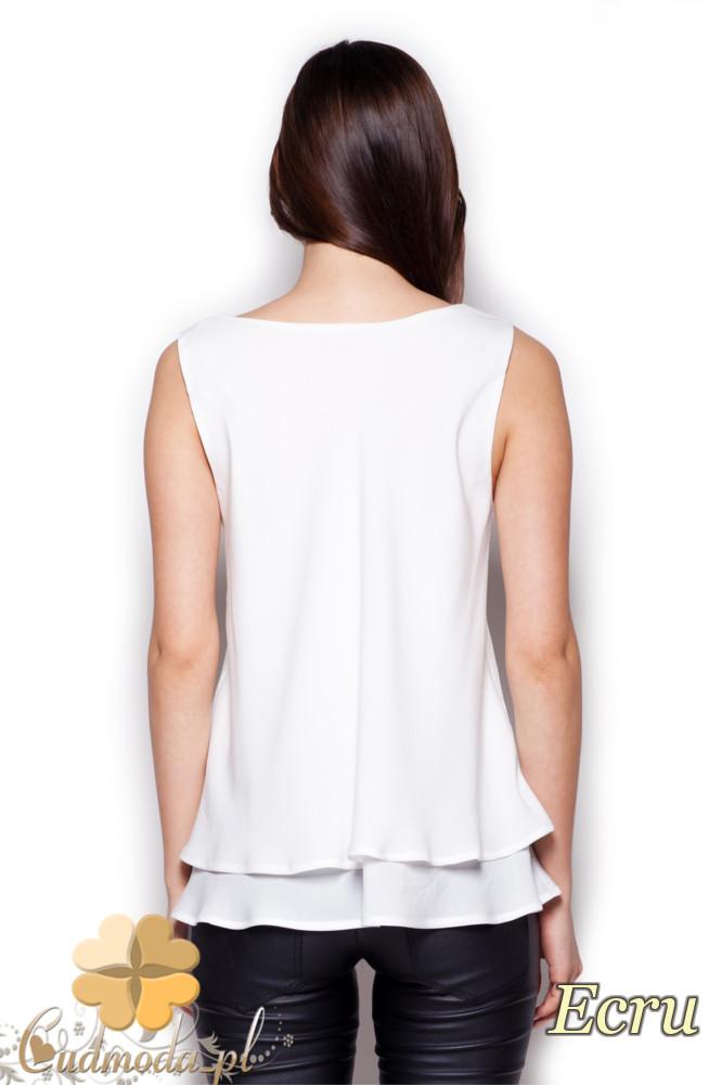 CM1405 Dwuwarstwowa bluzka damska - ecru