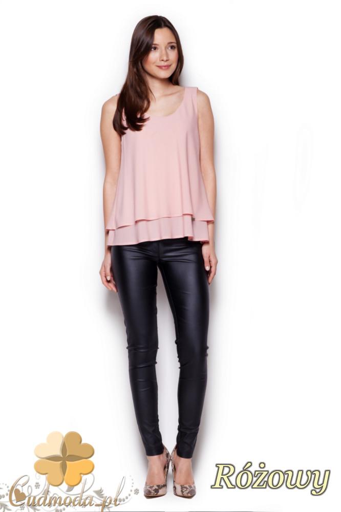 CM1405 Dwuwarstwowa bluzka damska - różowa
