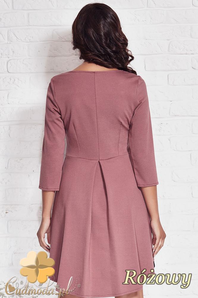 CM1407 Asymetryczna sukienka damska z zakładką - różowa