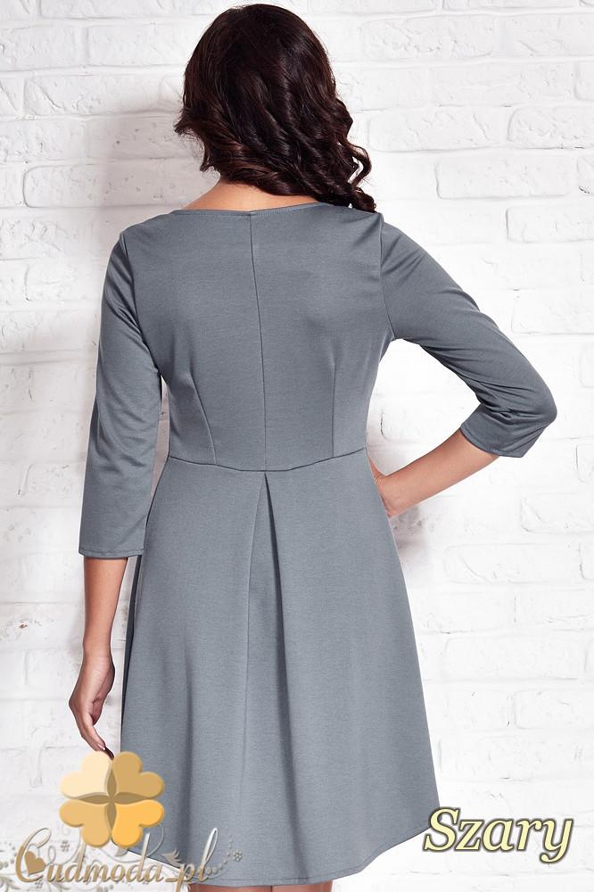 CM1407 Asymetryczna sukienka damska z zakładką - szara