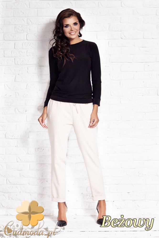 CM1408 Luźne spodnie damskie ze zwężonymi nogawkami - beżowe