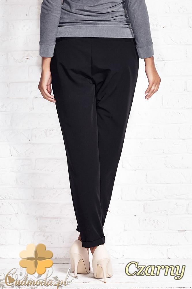 CM1408 Luźne spodnie damskie ze zwężonymi nogawkami - czarne