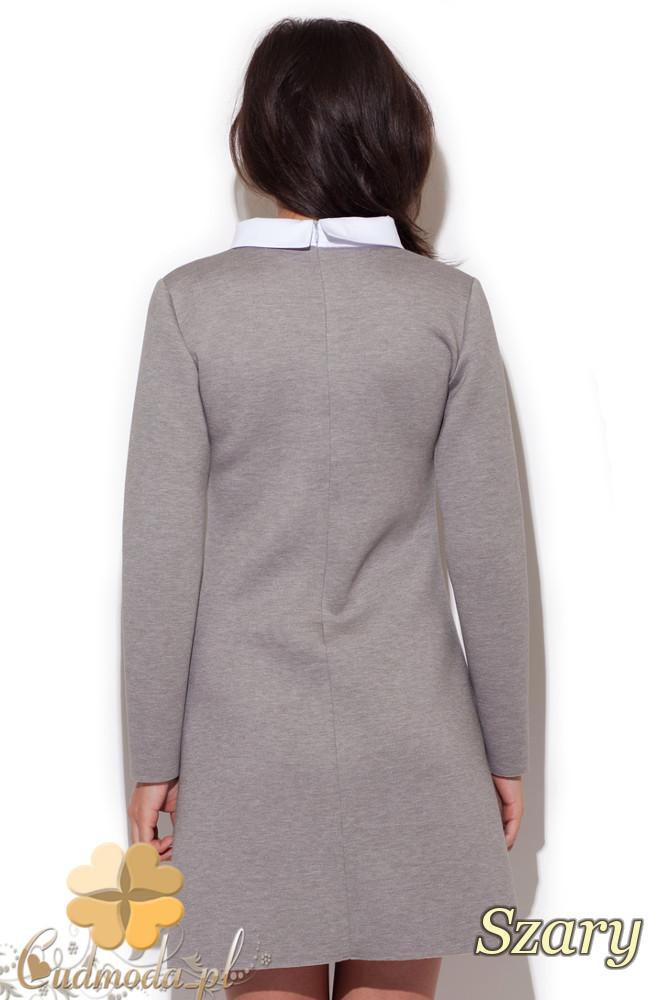 CM1414 Elegancka dopasowana sukienka z kołnierzykiem - szara
