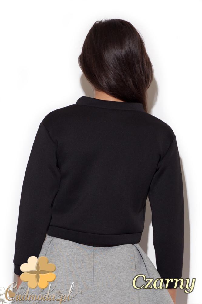 CM1415 Piankowa bluzka damska na stójce - czarna