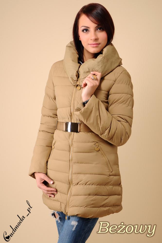 WYCOFANY Zimowa, taliowana kurtka z kołnierzem - beżowa