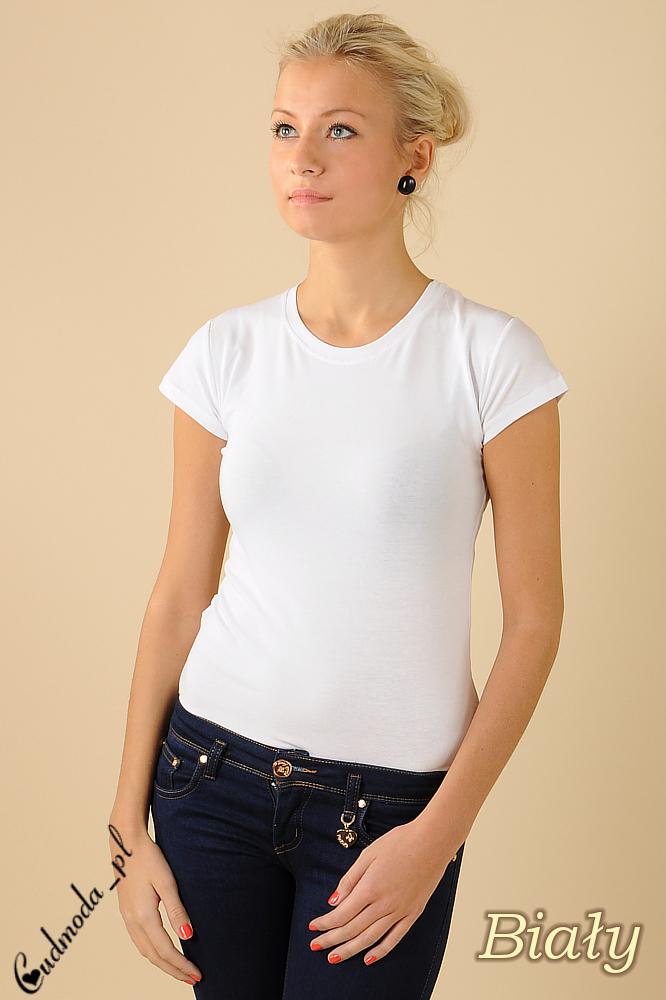 CM0012 Gładka bluzka z krótkim rękawem - biała