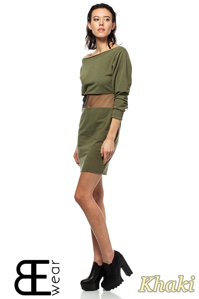 CM1419 Sukienka mini z przezroczystą wstawką i opadającym dekoltem - khaki