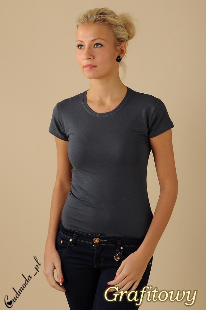 CM0012 Gładka bluzka z krótkim rękawem - grafitowa