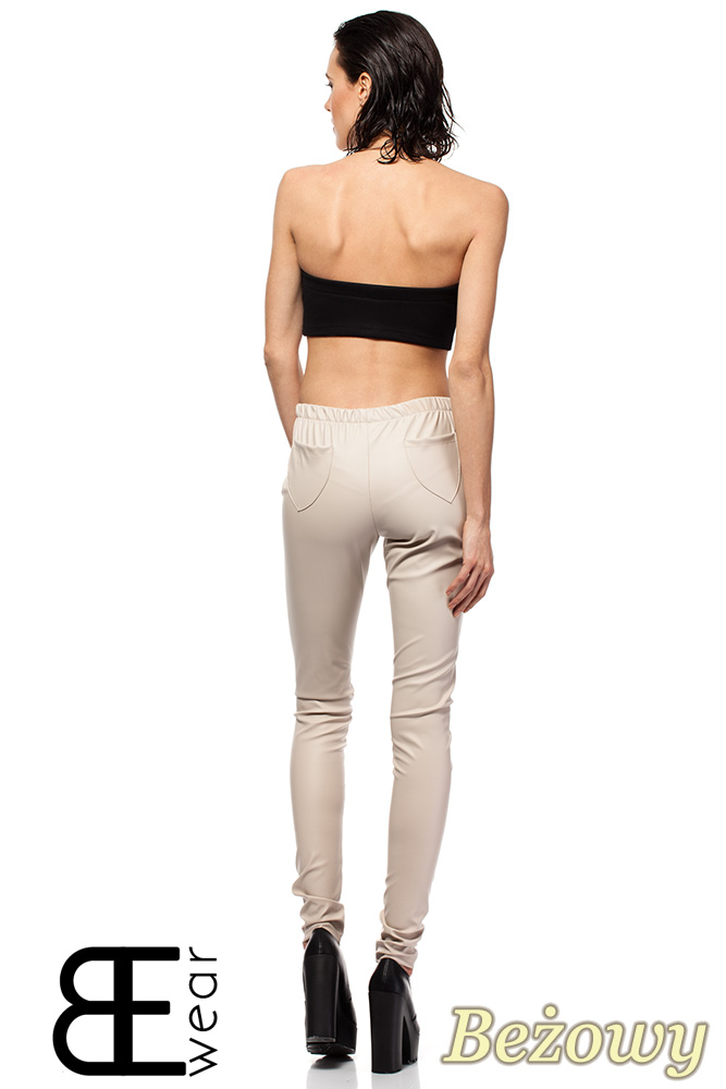 CM1422 Skórzane spodnie damskie - rurki - beżowe