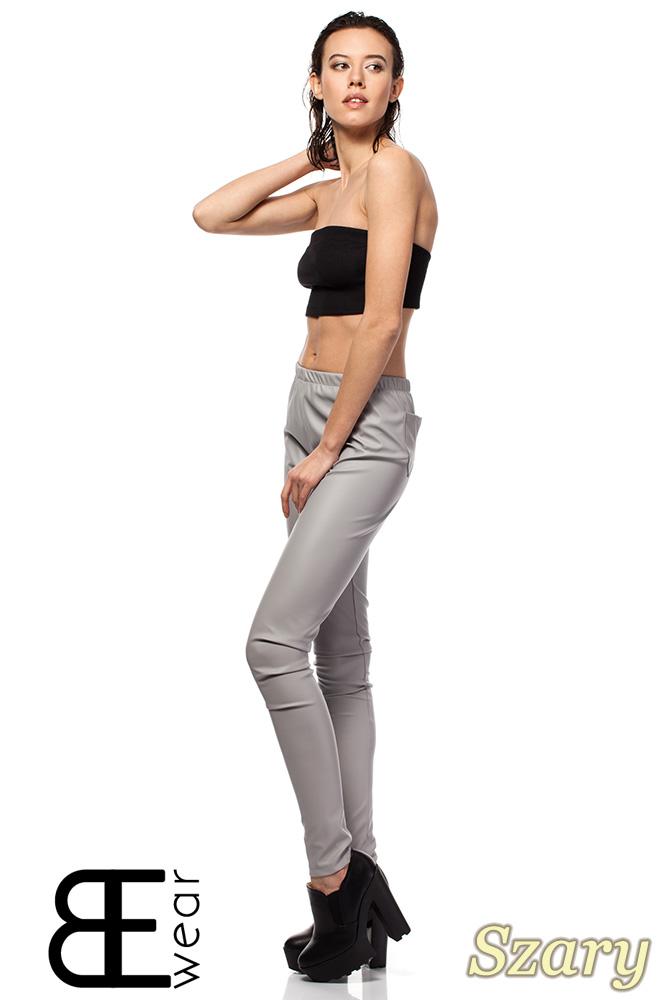 CM1422 Skórzane spodnie damskie - rurki - szare