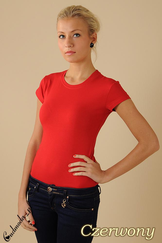 CM0012 Gładka bluzka z krótkim rękawem - czerwona