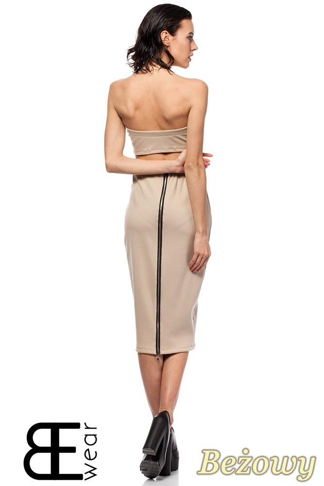 CM1424 Dopasowana spódnica damska ze złotym zamkiem z tyłu - beżowa