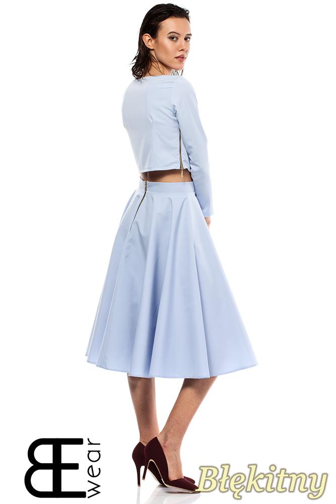 CM1425 Rozkloszowana spódniczka mini kontrafałda - niebieska