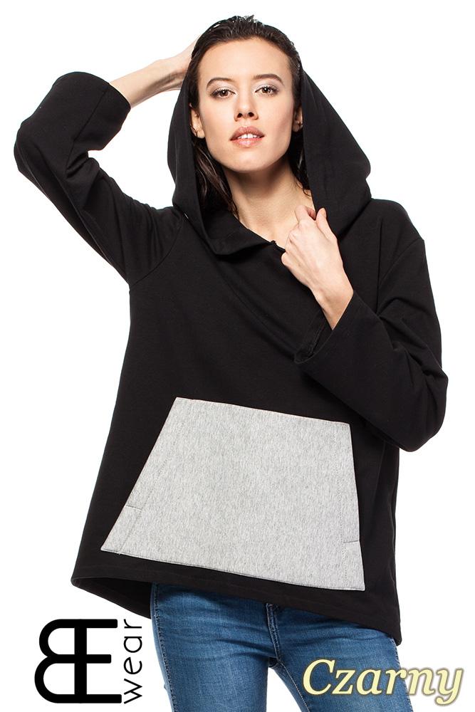 CM1426 Asymetryczna bluza kangurka z kapturem - czarna
