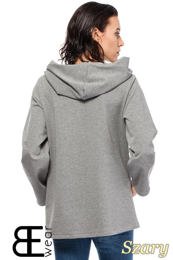 CM1426 Asymetryczna bluza kangurka z kapturem - szara