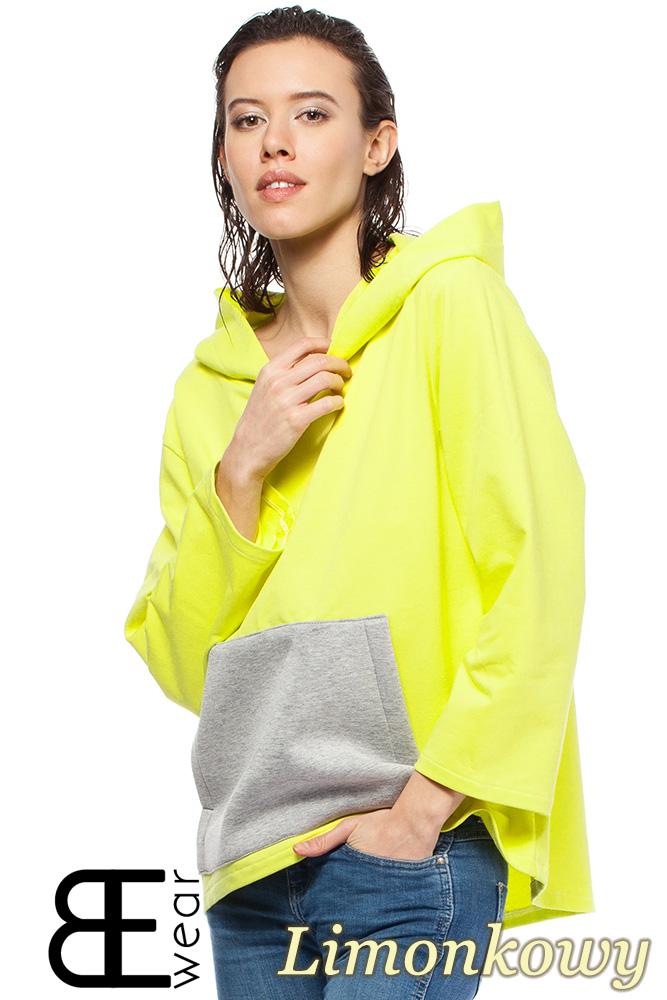 CM1426 Asymetryczna bluza kangurka z kapturem - limonkowa