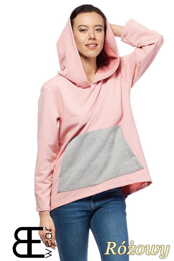 CM1426 Asymetryczna bluza kangurka z kapturem - różowa