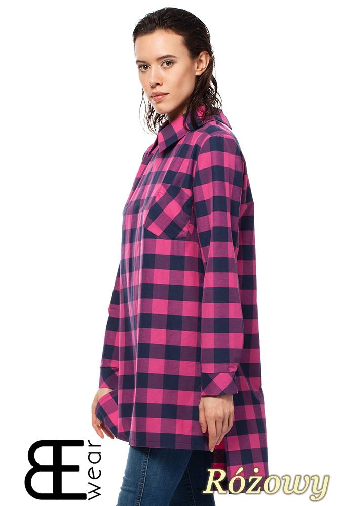 CM1427 Asymetryczna koszula oversize w kratę - różowa