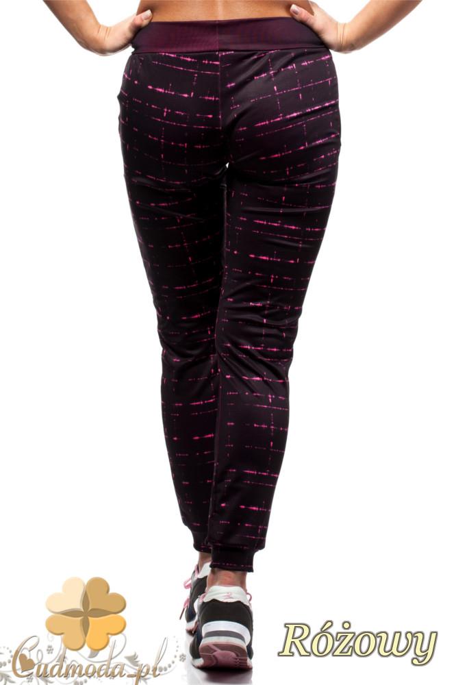 CM1433 Sportowe legginsy damskie w linie - różowe OUTLET