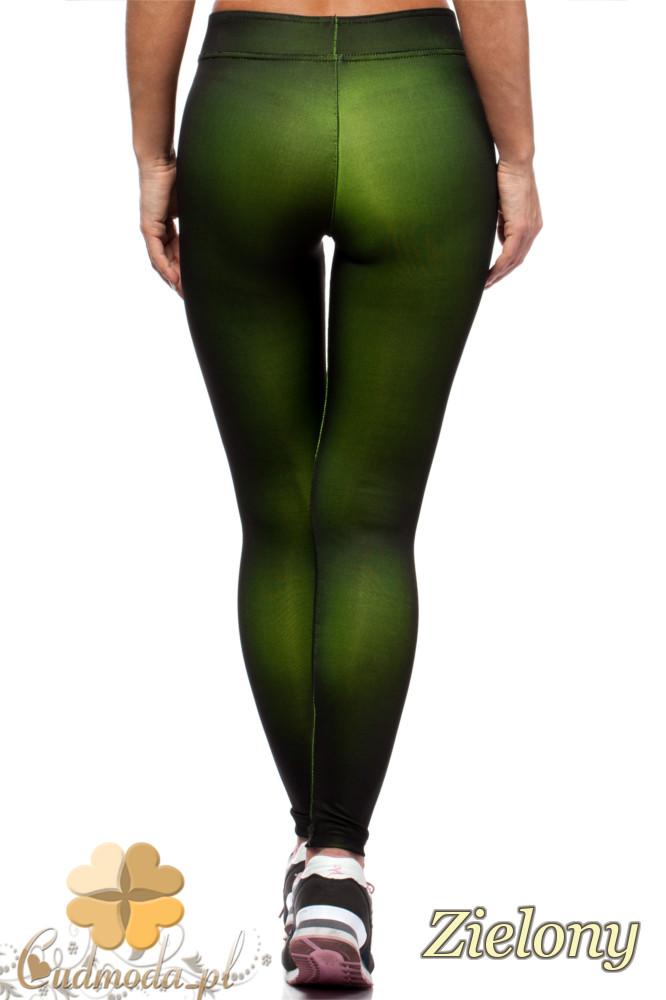 CM1435 Neonowe dopasowane legginsy damskie - zielone